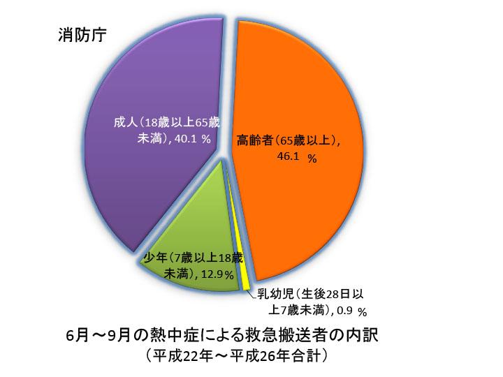 6月~9月の熱中症による救急搬送者の内訳
